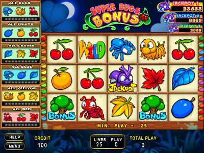Super Bugs Bonus Main Game 25-Liner