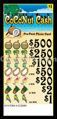 Coconut Cash (500) Pre-Paid Phone Card Pull Tabs