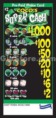 Super Cash Pre-Paid Phone Card Pull Tabs