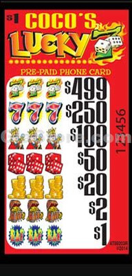 Lucky 7 (499) Pre-Paid Phone Card Pull Tabs