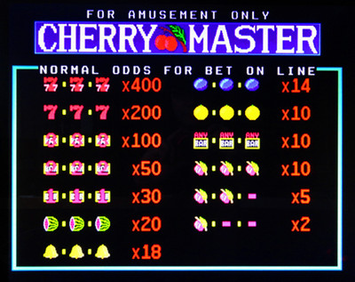 Cherry Master Title Screen with Odds