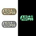 "Blood Type AB+ Positive - ""Super-Lumen"" Glow-In-The-Dark Patch"