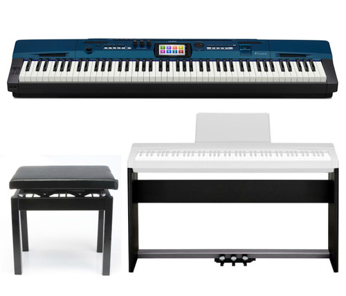 Casio Privia PX560M in Metallic Blue, includes CS67BK stand , SP33 Pedal assemble, and Free PBBK adjutable bench.