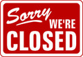 Wall Decals and Stickers - Sorry we're Closed Red