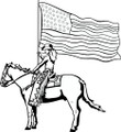 Wall Decals and Stickers - Cowgirl with American Flag