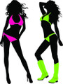 Wall Decals and Stickers - Two Bikini Girls