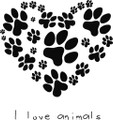 Paw Prints Heart Decal  -  Love  -  Wall Decals & Stickers
