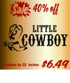 Little Cowboy Picture Art  Home Decor Sticker  Vinyl Wall Decal  9x23