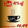 Coffee In a Cup Picture Art  Home Decor Sticker  Vinyl Wall Decal  9x9
