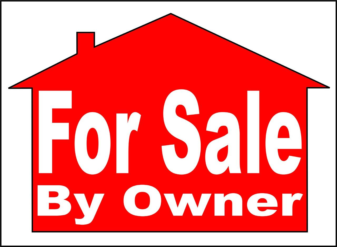 Property For Sale by Owner Notice Lettering Sign Banner in Red House Frame  Homeowner Graphic Design Image Picture Art - Vinyl Wall Decal - Peel and