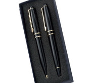 Black Brass Ballpoint and Roller ball Pen Set
