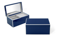 Navy Elle Lacquer Jewelry Box