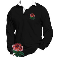 Black England Rugby shirt.  The England rugby team will wear an all black strip when they kick off their World Cup campaign against Argentina in New Zealand. Both the shirt and the shorts of the new strip are jet black with no other colour except for the Red Rose embroidered logo.