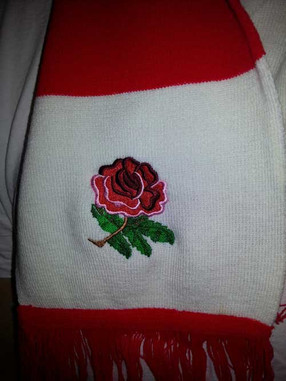 England retro rugby scarf close up