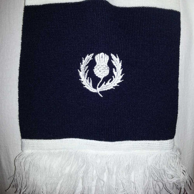 Scottish rugby scarf close up