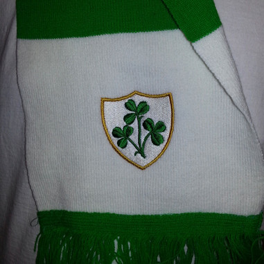Irish rugby supporters scarf close up