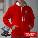 Welsh Fleur de Lys embroidered hoodie AWD smartphone friendly. Wales CYMRU hooded sweatshirt