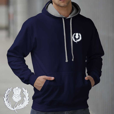 Scotland Thistle design embroidered hoodie AWD smartphone friendly. Scottish rugby hooded sweatshirt