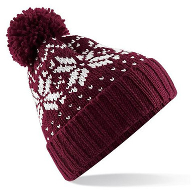 Burgundy and Off White Fairisle Pattern beanie bobble hat from Sumo Sam Hats and Caps