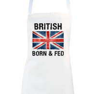 British Born and Fed Funny novelty apron gift idea close up