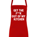 Get the F**K out of my kitchen funny novelty apron close up