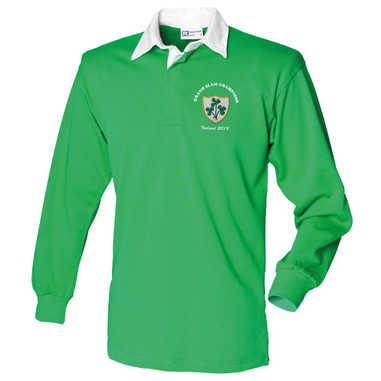 Ireland Grand Slam 2018 Rugby shirt.  A 1970's style retro Ireland Rugby shirt. This Retro 1970's style rugby shirt is ideal for showing the World that you are proud to support the Ireland Rugby side. Vintage Irish green rugby shirt with white contrast collar. The shirt has been embroidered with the classic triple shamrock crest.
