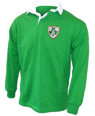 A 1970's style retro Ireland Rugby shirt. This Retro 1970's style rugby shirt is ideal for showing the World that you are proud to support the Ireland Rugby side. Vintage Irish green rugby shirt with white contrast collar. The shirt has been embroidered with the classic triple shamrock crest. This garment is a tribute to Ireland and the Irish nation and is 100% Unofficial.
