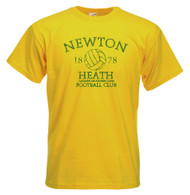 Newton Heath t shirt - Gold & Green Vintage t-shirt Distressed print Newton Heath L&YR Football Club Founded 1878. The design is printed on a choice of either Yellow t shirt with a distressed (vintage style washed and worn look).