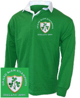 Ireland Grand Slam 2009 Rugby shirt.  A 1970's style retro Ireland Rugby shirt. This Retro 1970's style rugby shirt is ideal for showing the World that you are proud to support the Ireland Rugby side. Vintage Irish green rugby shirt with white contrast collar. The shirt has been embroidered with the classic triple shamrock crest.