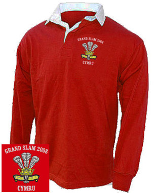Wales Grand Slam 2008 rugby shirt.  This Wales rugby shirt is great for showing the World that you are proud to be Welsh. Vintage red rugby shirt with white contrast collar. The shirt has been embroidered with the classic National 3 feathers crest