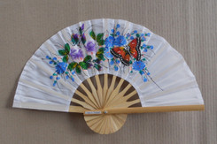 White hand fans, assorted paintings, package of 10