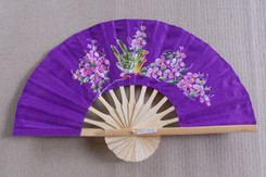 Purple hand fans, assorted paintings, package of 10