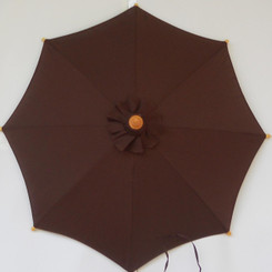 Hand held market umbrella, brown canvas