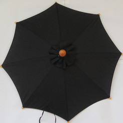 Hand held market umbrella, black canvas