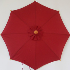Hand held market umbrella, burgandy canvas