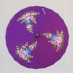 Hand painted rayon parasol, purple color