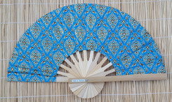 Hand Fan, Thai fabric, blue color, package of 10