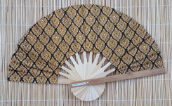 Hand Fan, Thai fabric, gold color, package of 10