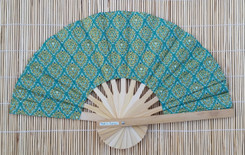 Hand Fan, Thai fabric, green color, package of 10