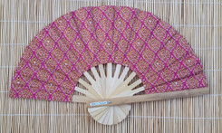 Hand Fan, Thai fabric, pink color, package of 10