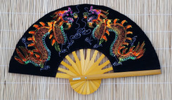 Velvet hand fan with Dragon painting, package of 10