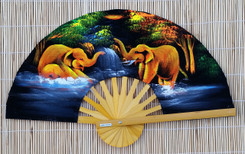 Velvet hand fan with Elephant painting, package of 10