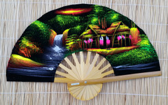 Velvet hand fan with Village painting, package of 10