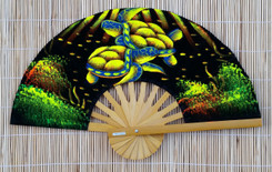 Velvet hand fan with Turtle painting, package of 10