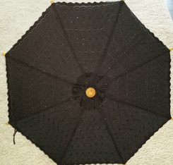 Embroidered canvas umbrella, black color