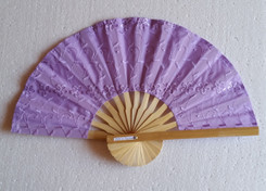 Hand fan, embroidered fabric, purple color, package of 10