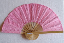 Hand fan, embroidered fabric, pink color, package of 10