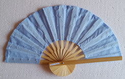 Hand fan, embroidered fabric, blue color, package of 10