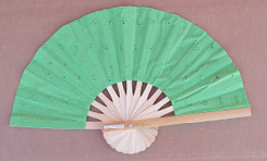 Hand fan, embroidered fabric, Green, package of 10