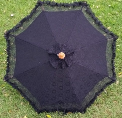 Fancy lace parasol, black color with carrying bag